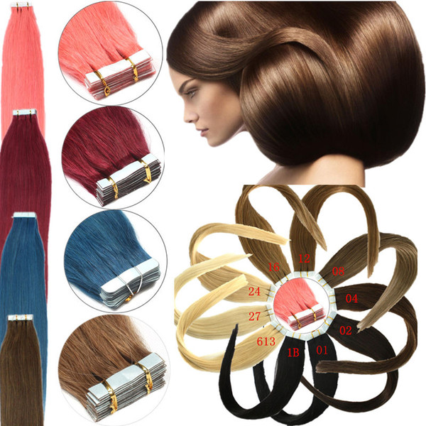 Tape In Human Hair Extensions Cheap PU Skin Weft 8A Grade Virgin Indian Remy Hair 16-24 inch 20pcs 15 Colors