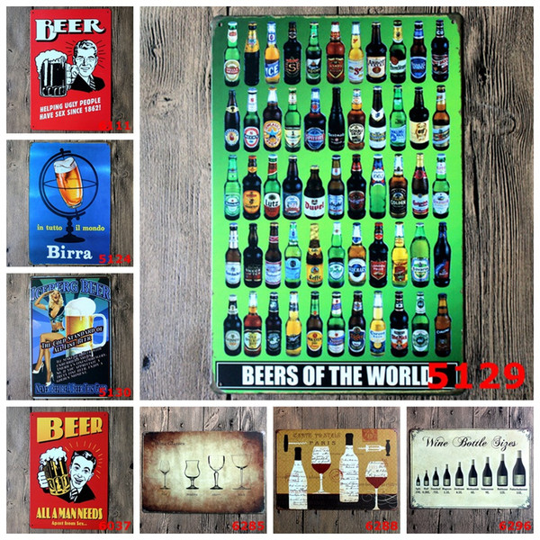 Beer Wine Birra Tin Poster Wall Decor Bar Home Vintage metal sign Craft Gift Art Iron painting Tin Sign(Mixed designs)