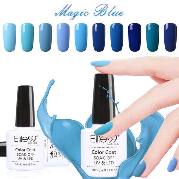 Wholesale-Elite99 10ml Nail Polish Lacquer UV LED Lamp Drying Magic Blue Color Top Base Coat Needed Soak-off Gel Nail LED UV Gel Pick 1