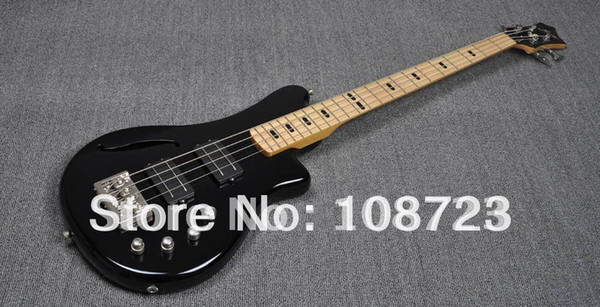 top popular Wholesale-Wholesale - Free Shipping 4 String Black Double Track Active Pickups Electric Bass Guitar 2020