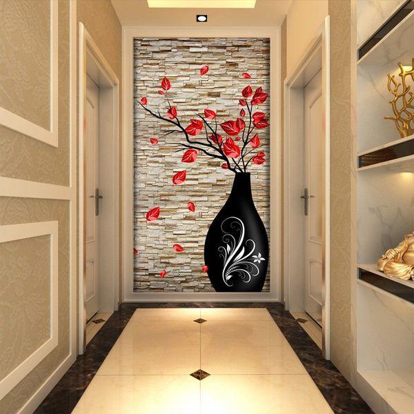 Acheter Entrée Papier Peint Grande Murale 3d 3D Vase Moderne Simple  Européenne Couloir Corridor Fond Transparent Fond D\'écran Peinture De  $21.36 Du ...