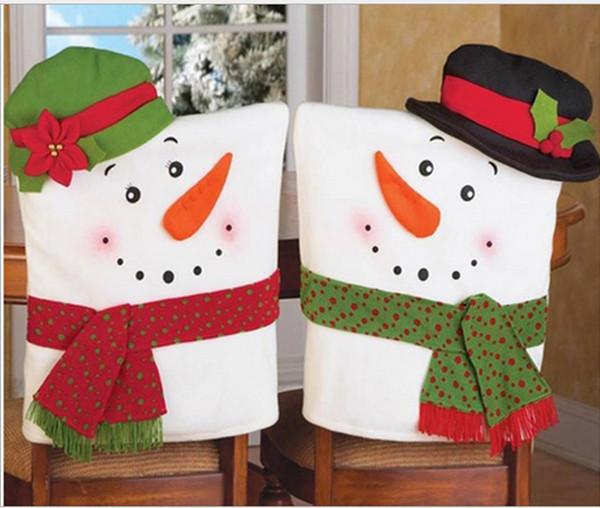 2 Stücke Weihnachtsdekoration Für Zuhause Red Hat Stuhlhussen Navidad Santa Claus Party Frohe Weihnachten Ornament