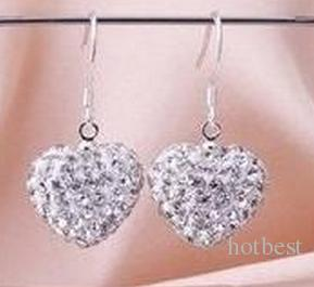 wedding gift hot best Mix Colors white disco Ball beads clay heart drop Dangle crystall Crystal Earrings Stud women s72