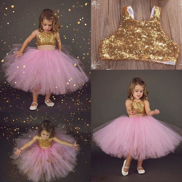 Lovely Two-Pieces Girls Birthday Outfit With Tulle Skirt Sparkly Golden Sequins Pink Tutu Flower Girl Dress For Weddings Kids Formal Wear
