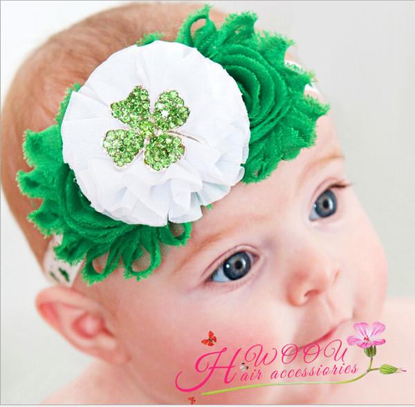 Headbands Hair Bands For Girls Babies Elastic Tie Cheer Bows Green Clover Flower Photographs Christmas