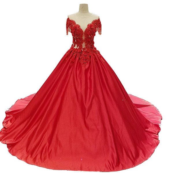 Colorful Red Custom Made Taffeta Wedding Dresses With Appliqued Off Shoulder Modern Ball Gown V-Neck Garden Wedding Gowns