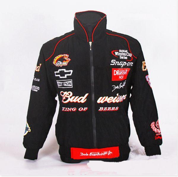 wholesale- for budweiser jacket black red moto gp motorcycle motorbike biker auto driver winter cotton jackets coat
