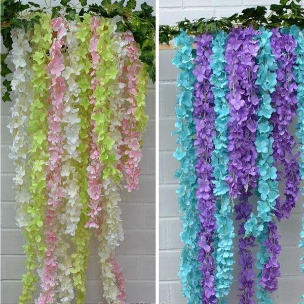 Yapay Ortanca Wisteria Çiçek 10 renkler DIY Simülasyon Düğün Kemer Kapı Ev Duvar Asılı Çelenk Düğün Bahçe Dekorasyon Için