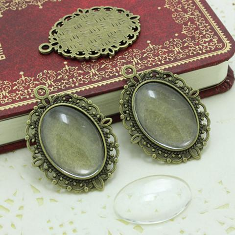 Sweet Bell antique bronzer filigree cameo cabochon 18*25mm base setting pendant tray + clear glass cabochons D0214