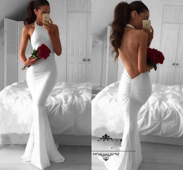Sexy Weiß Abendkleider Lange Meerjungfrau 2017 Backless Einfache Halter Günstige Arabische Afrikanische Prom Dressess Plus Size Formale Party Kleider