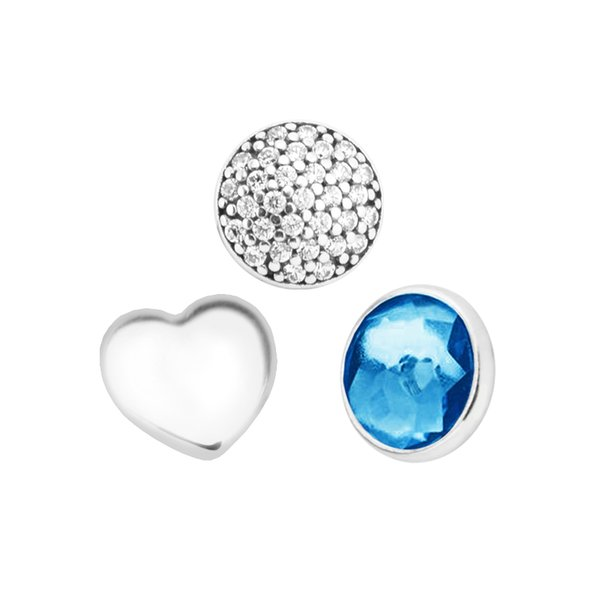 December Petites London Blue Crystal & Clear CZ Charm for Locket necklace Charms Fits Pandora Bracelet sterling silver jewelry making charms