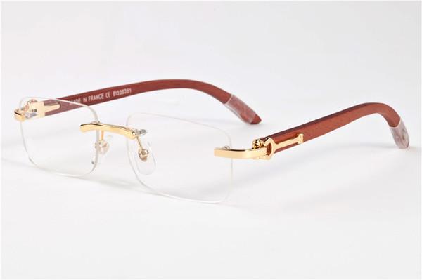 2017 Hombres Sin Montura Gafas De Madera Gafas de Cuerno de Búfalo Marca Francia Diseño Gafas de sol ópticas Mujeres Gafas de madera de oro Marcos de gafas