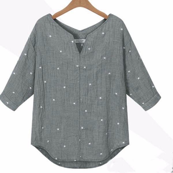 Nuevo 2017 primavera verano mujer casual suelta tres cuartos de manga con cuello en v camisa estampada joker camisa blusa top