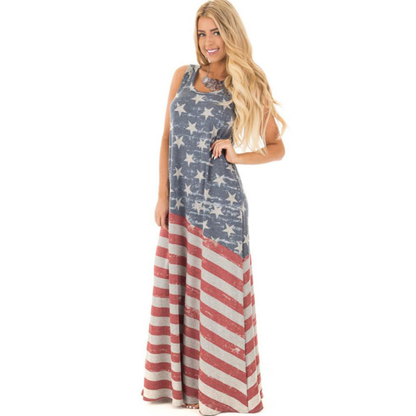 Casual Vintage Star Striped Patchwork Boho Beach Dress Women 2017 Summer Sleeveless Long Maxi Dress O-neck Vestidos