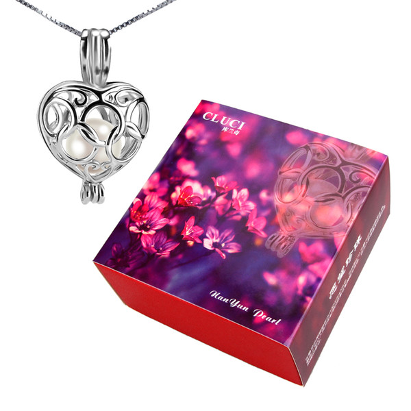 Gift Set 6-7mm Akoya Cultured Pearl Oyster with 925 Silver Heart Pendant