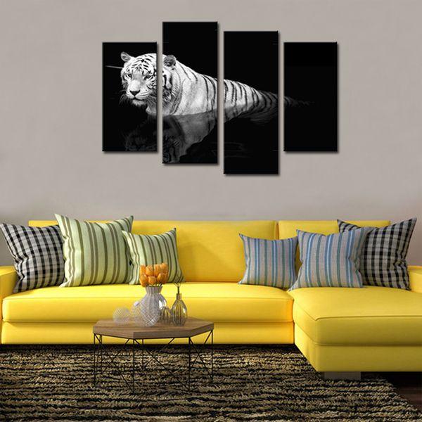 4 Peças Pinturas Animais Preto e Branco Tiger Wall Art Print On Canvas Pronto para Pendurar Para Sala de estar Decoração de Casa Com Moldura De Madeira