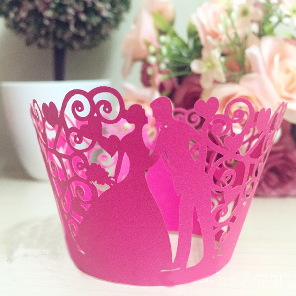 50pcs/lot free shipping Laser Cut Birde Groom Design Wedding Cupcake Wrappers Baking Cakes Wrappers Birthday Party Cake decoration