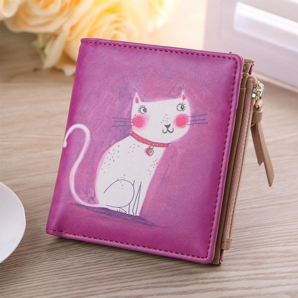 Al por mayor- Monedero de la manera de la moda Mujeres Vintage Marilyn Monroe Cartoon Cat Mujeres Carteras Marca Femenina Delgada Monedero Corto Monederos Embrague