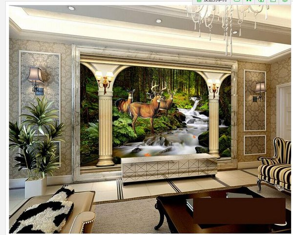 Large 3D marble pillar forest deer background wall mural 3d wallpaper 3d wall papers for tv backdrop