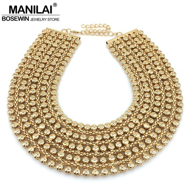 Mainilai Chunky Metal Statement Necklace For Women Neck Bib Collar Choker Necklace Maxi Jewelry Golden Silver Colors Bijoux Christmas Gift