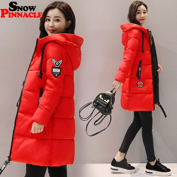 SNOW PINNACLE 2017 New Winter Woman Parkas Jacket Mid-Long Hooded Warm Solid 9 colors snow coat Thicken Padded Jacket M-3XL