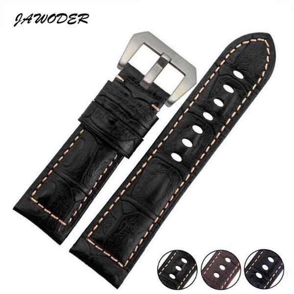 Bracelet de montre JAWODER brun / noir / bleu 24 mm hommes lignes de crocodile cuir véritable bracelet de montre en acier inoxydable boucle d'argent pour PAN