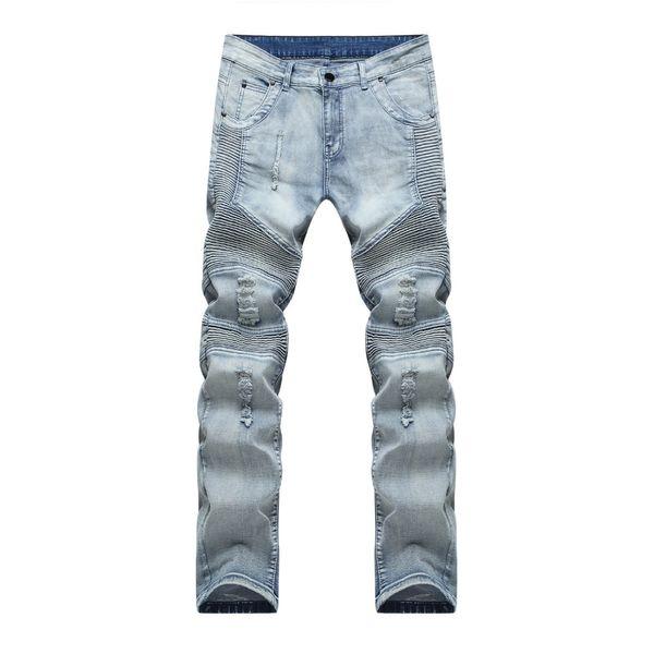 Jeans Biker all'ingrosso-maschii distrutti tessuto denim elastico Slim Fit Jeans skinny lavati Pantaloni Joggers Skinny Uomo pantaloni strappati