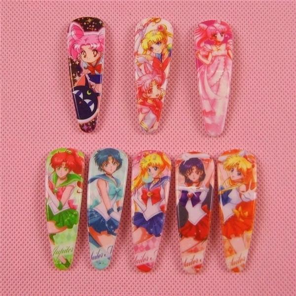 48PCS=24 Pair Style Anime Sailor Moon Cartoon Hairpin Cute Baby BB Hair Clips Headwear Girls Rim Hair Ornaments accessories Kid Gifts