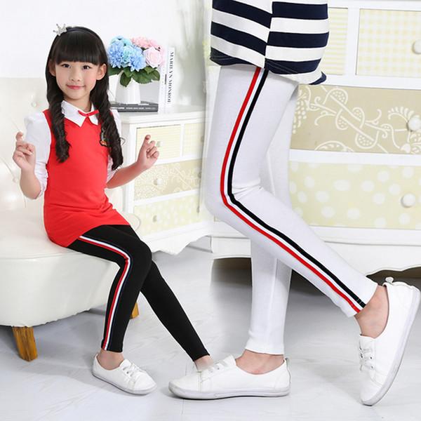 2017 Yeni Kız Tayt Yan Kırmızı Ve Mavi Stripes Pantolon Yürüyor Büyük Çocuk Pantolon Bebek çocuk Spor Tayt 5 renkler Mevcut