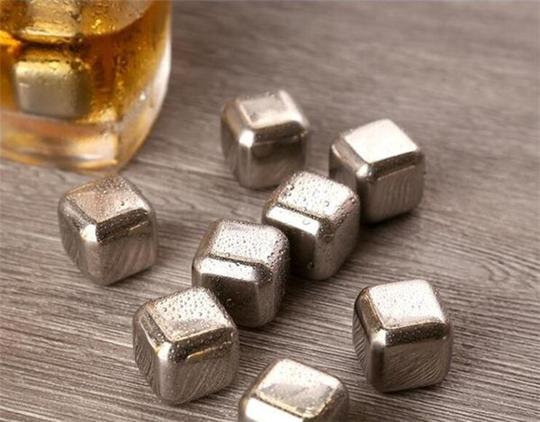 100pcs Stainless Steel Ice Cube Wine Whiskey Beer Cooler Stones Rock Soapstone Glacier Rock Beer Freezer Chillers Drink Cooler Cube G098