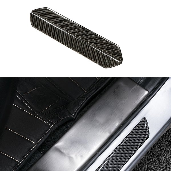 Wholesale- 2pcs/lot Carbon Fiber Car Outside Door Sill Plate Guard Frame Left & Right Trim Car Styling Stickers Accessories