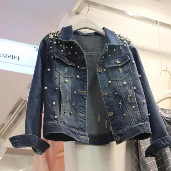 Koreanische neue Perle plus Größe S-5XL Frauen Jeans Jacke Frühling Herbst Mädchen Langarm Baumwolle Tasche Taste Denim Cowboy Mantel Oberbekleidung zu
