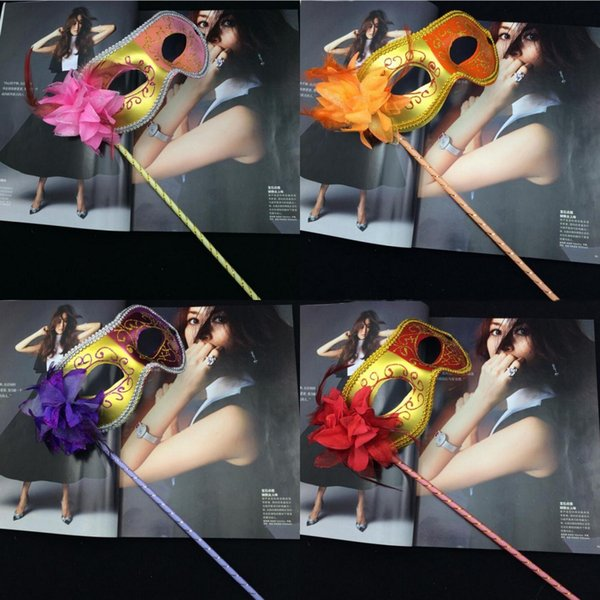 Two-color Painting Side Flower Party Masks Women Halloween Party Cloth Surrounding Edge Masquerade Masks Party Show Carnival Face Mask