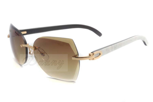 New style trendy top quality natural mixed buffalo horn Sunglasses in gold with cut lenses 8300817 for unisex, size: 60-18-140mm