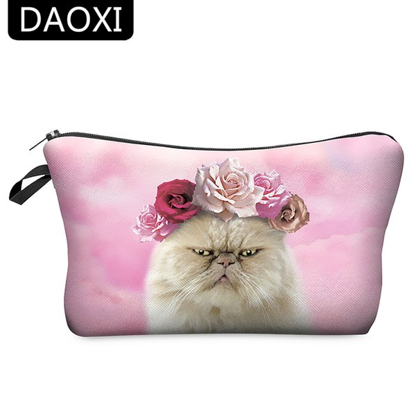 Wholesale- DAOXI Womens Makeup Bag Pouch Cosmetic Purse Lovely Cat Beauty Case for Traveling