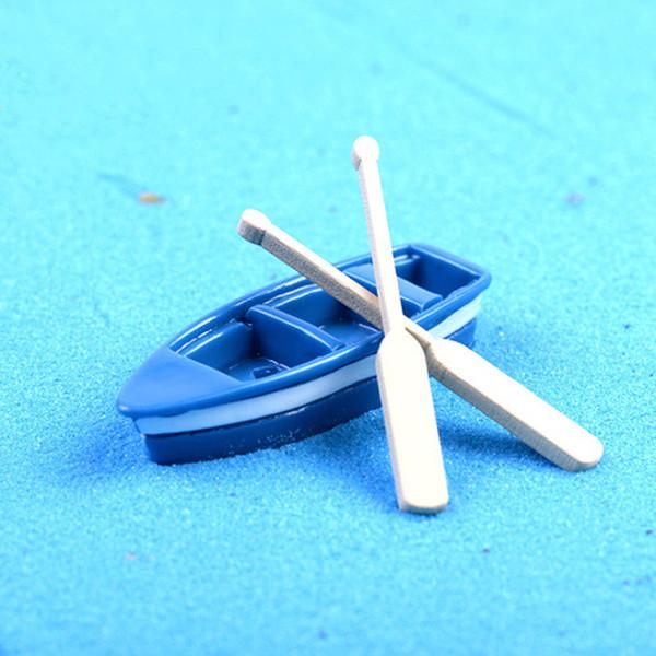15pcs Sailboat Boat Paddle Resin Crafts Fairy Garden Miniatures Bonsai Tools terrarium Figurines Aquarium Micro Landscape Home Decoration