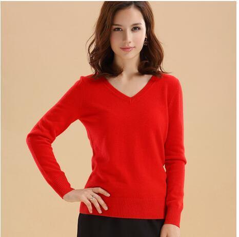 Outono e inverno das mulheres com decote em V suéter de cashmere magro básica pullover camisola colo vermelho sólido