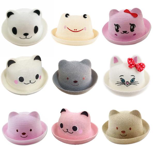 DHL libero 30 colori bambini Caps 2017 nuova versione coreana bambini Orecchiette cappello di paglia orso cappello di paglia visiera berretto marea orecchie di gatto 30 colori