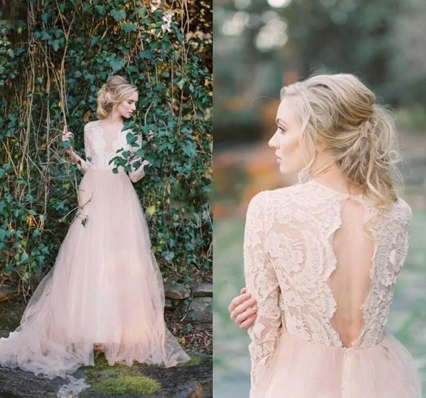 Blush Pink Lace Bohemian Wedding Dresses 2017 Sheer Long Sleeves Deep V Neck Sexy Open Back Tulle Bridal Gowns Cheap Beach Wedding Gowns