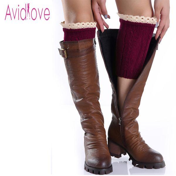 Wholesale- Avidlove Winter Women Leg Warmer Ladies Fashion Knit Crochet Hollow Out Boot Cuffs Short Socks With Lace Trim 9 Colors U2