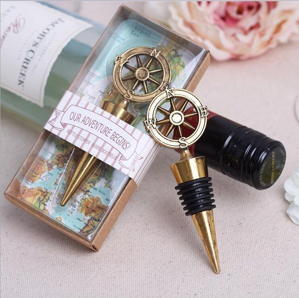 Wedding Gift Vintage Gold Compass Wine Bottle Stopper Rudder/Helm Bottle Stopper ESWN direction Beer Bottle Stopper Party Supplies