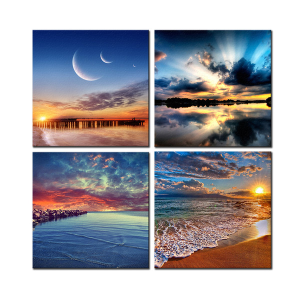 4 Panels HD Seascape Canvas Painting Home Decor Landscape Canvas Wall Art Picture Digital Art Print for Living Room