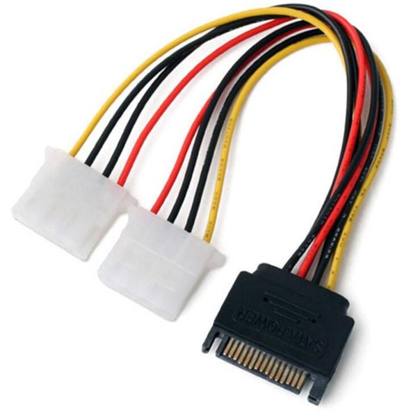 10pcs/lot High Quality 15 Pin SATA Male to 2 IDE Splitter Female Power Cable