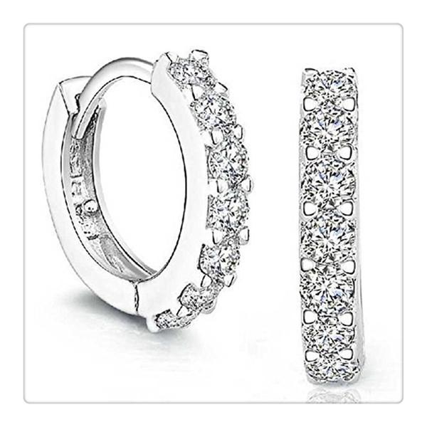 Bijoux de mode 925 Sterling Argent Strass Hoop Diamant Boucles D'oreilles pour les Femmes 1 Paires Belles Boucles D'oreilles Cadeau Livraison Gratuite
