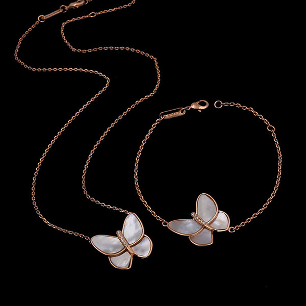 Wholesale Unique Butterfly Shape Rose Stainless Steel Necklaces & Pendants  Women Jewelry Accessories Wholesale Jewelry Name Necklace From