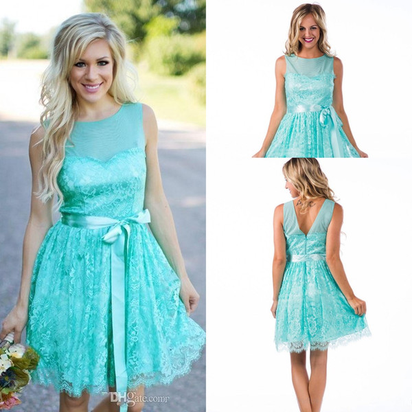 2017 New Country Turquoise Mint Short Bridesmaid Dresses Wedding Guest Wear  Jewel Neck Full Lace Sashes Party Plus Size Maid Of Honor Gowns Wine