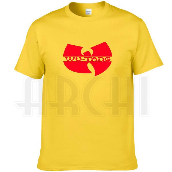 Wu tang clan T shirt Hip hop band printing short sleeve Yellow Rap Wutang tees Music cool clothing Unisex cotton Tshirt