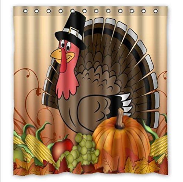 Thanksgiving-Truthahn mit Kürbis wasserdicht Badezimmer Stoff Duschvorhang, Badezimmer Dekor 66