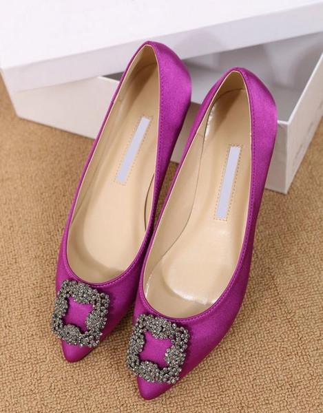 2016 Zapatos planos Mujer Marca Punta estrecha Zapatos de mujer Tallas grandes Zapatos de vestir de fiesta Zapatos de boda de tacón bajo Tamaño grande
