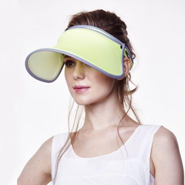 Wholesale- 2017 new arrived Women Visor Sun Plain Hat Sports Cap Colors Beach Hat Adjustable Apr Uv protection cover face